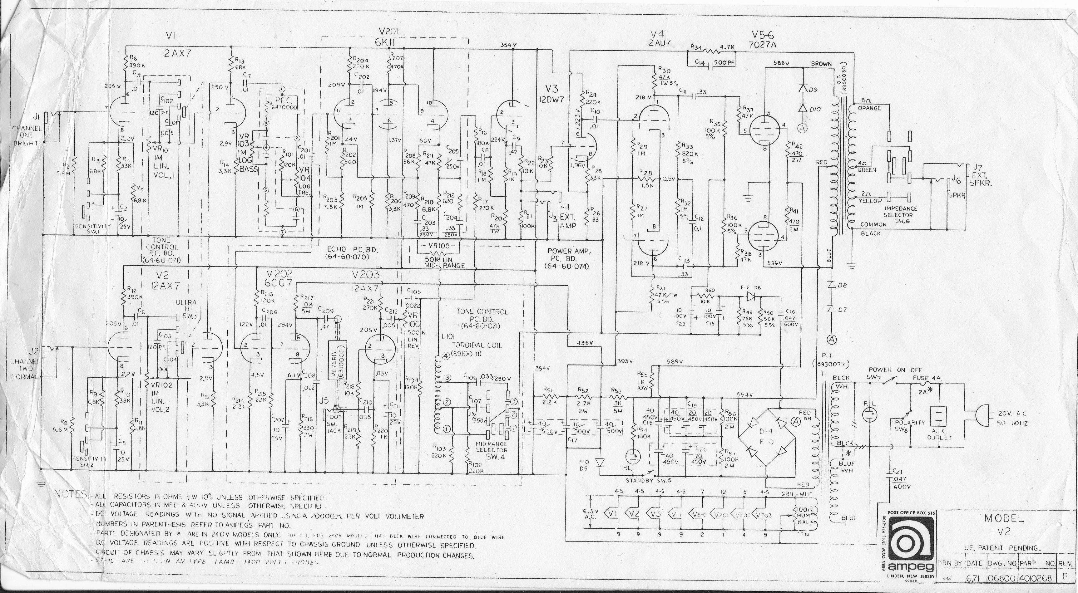 1974 Ampeg V2 (master volume mod help) | The Gear Page on marshall plexi tubes, marshall jcm 900 layout, marshall jcm pre amp, marshall tsl 100 first design, marshall parts list,